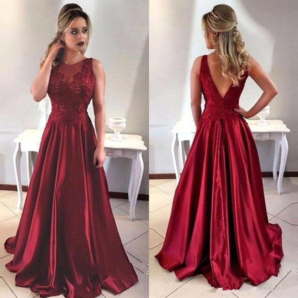 Compre 2018 Vestidos De Noche Formales Largos De Satén Sin Mangas Con Cuello En O Rojo Oscuro Vestidos De Fiesta Por Encargo En Forma De V Sin