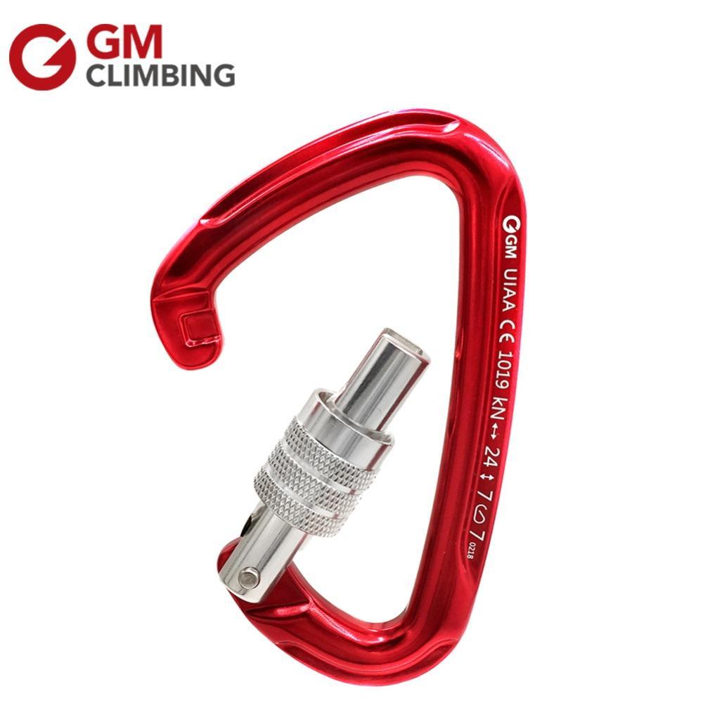 GM تسلق Carabiner 24kN CE / UIAA D الشكل برغي قفل الصخور تسلق Carabiner ماستر لوك معدات تسلق الجبال