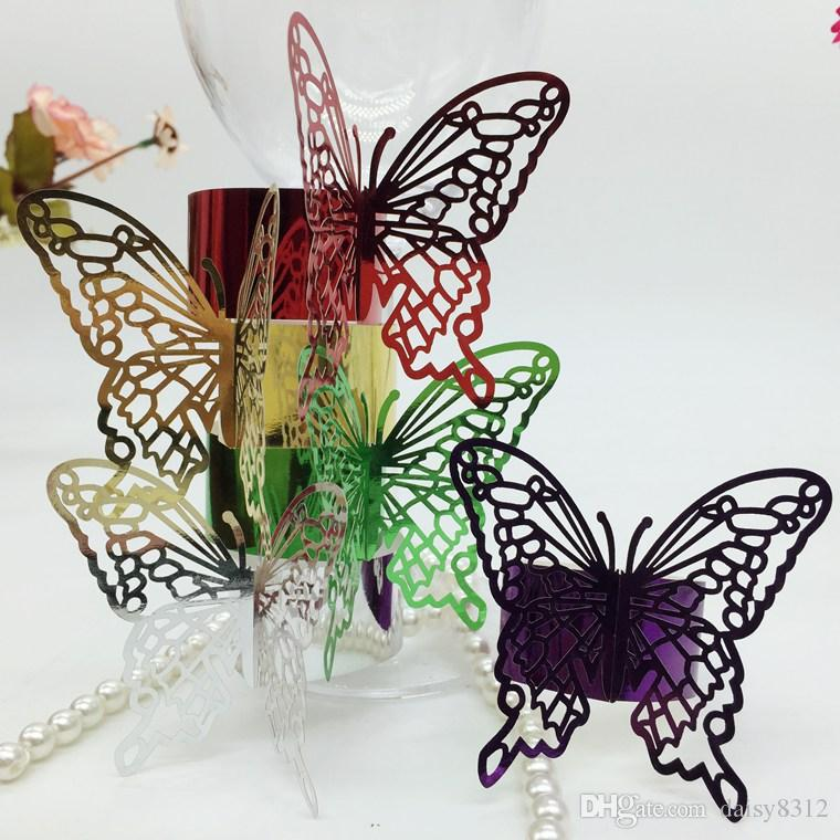F8 240pcs Laser Cut Hollow Butterfly Paper Card Napkin Ring Serviette Buckle Holder Hotel Wedding Party Favour Decoration