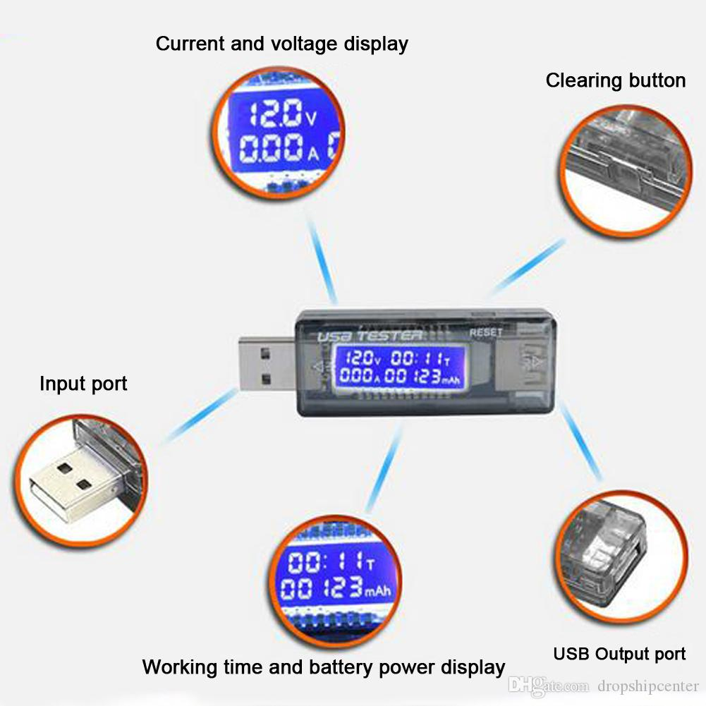 QC3.0 / 2.0 USB 테스터 USB 충전기 닥터 USB 힘 감시자 수용량 현재 전압 미터 배터리 힘 은행 발견 자