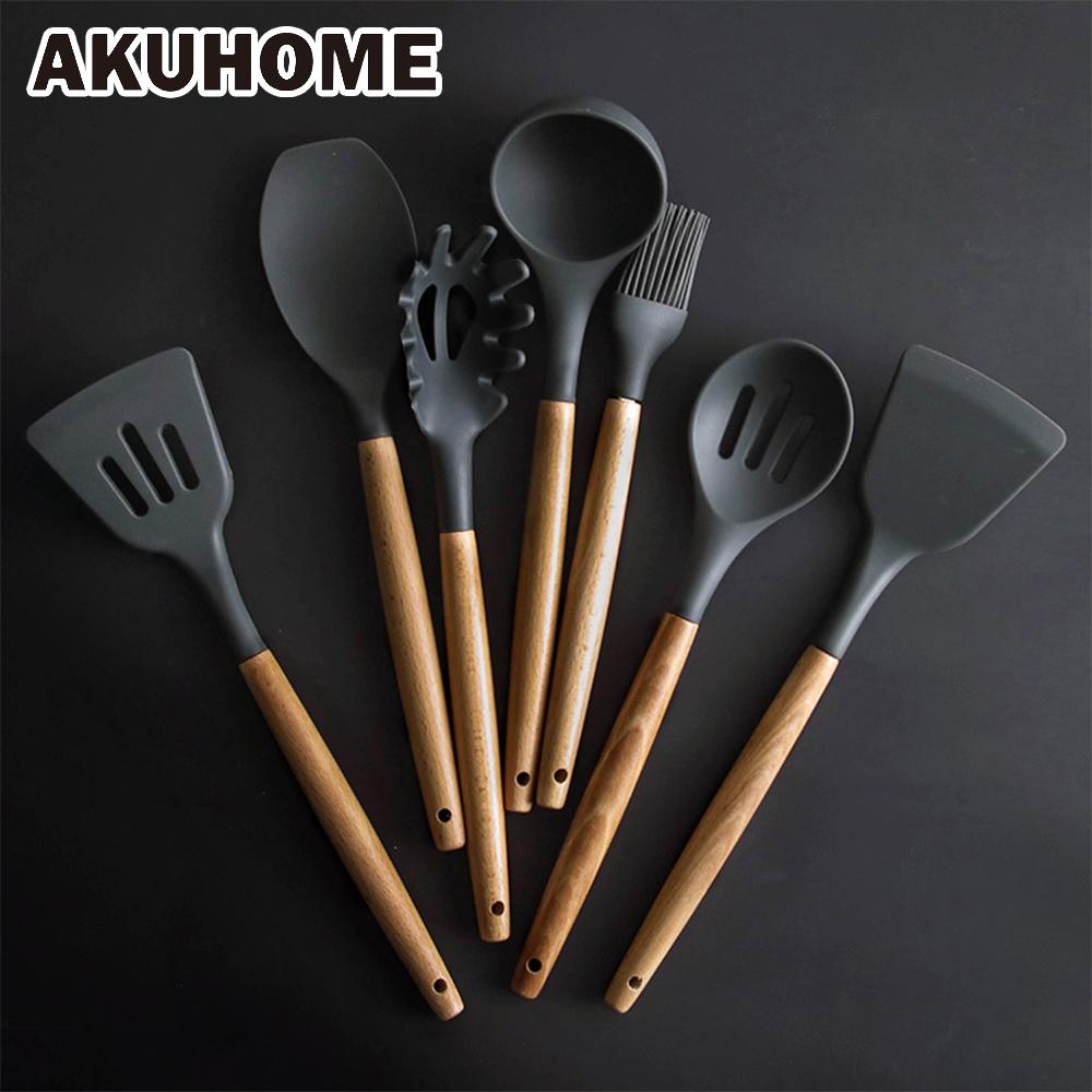 8 Pcs/Set Silicone Spatula Heat-resistant Soup Spoon Non-stick Special Cooking Shovel Kitchen Tools Y18110204