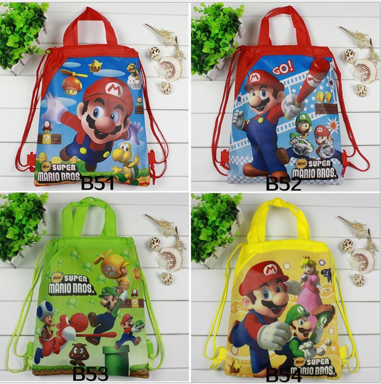 24pcs Super Mario Bros Gfits bags School Backpack Superhero Drawstring Bags Children Birthday Party Favors Party Gift for Kids