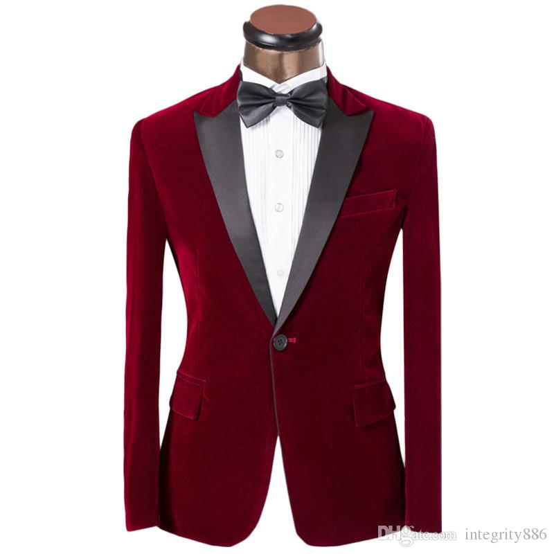 Personnaliser Rose Rouge Velvet Mariage Homme Tuxedos Bridegroom GroomsMen Blazer Excellent Hommes Business Party Suit (Veste + Pantalon + Bowstie) 262