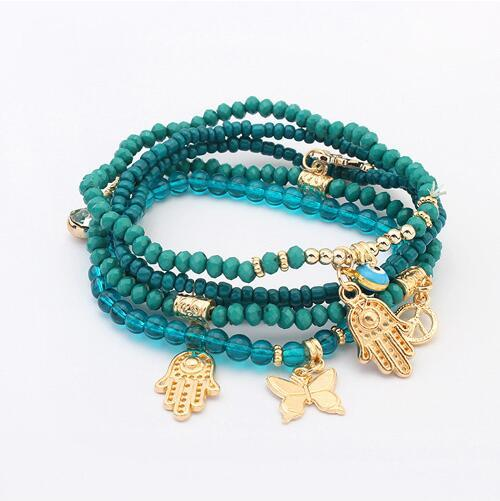 LEMOER Lucky Kabbalah Fatima Hamsa Hand Blue Evil Eye Charms Bracelets & Bangles Multilayer Beads Turkish Pulseras For Women