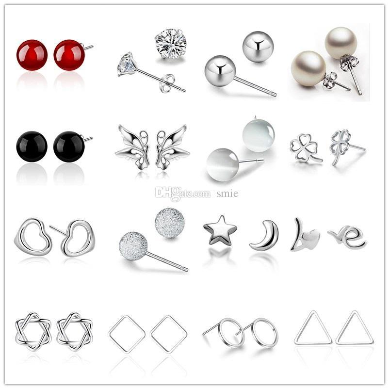Mix stil 925 ayar gümüş kaplama küpe kalp yonca ay charm küçük damızlık Küpe kadınlar takı için