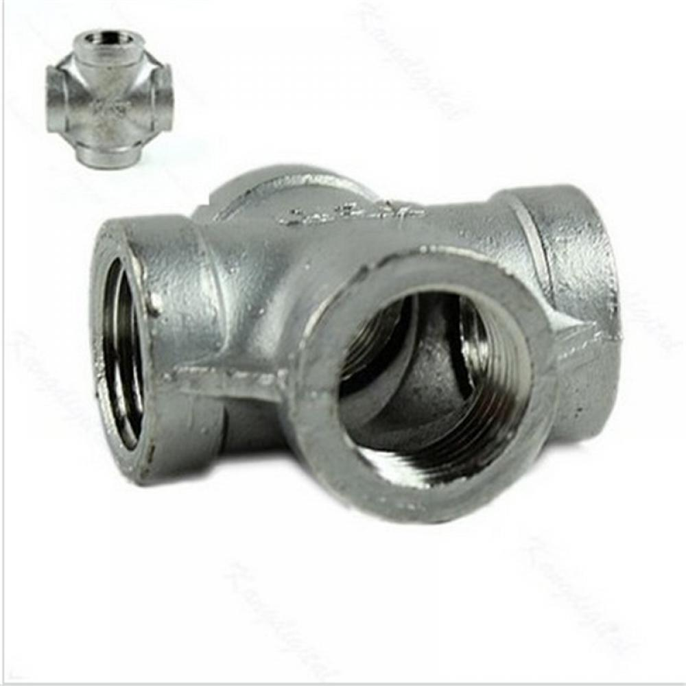 """1X 1/2"""" Thread 4 Way Female Cross Coupling Connector SS 304 Pipe Fitting NPT NEW"""