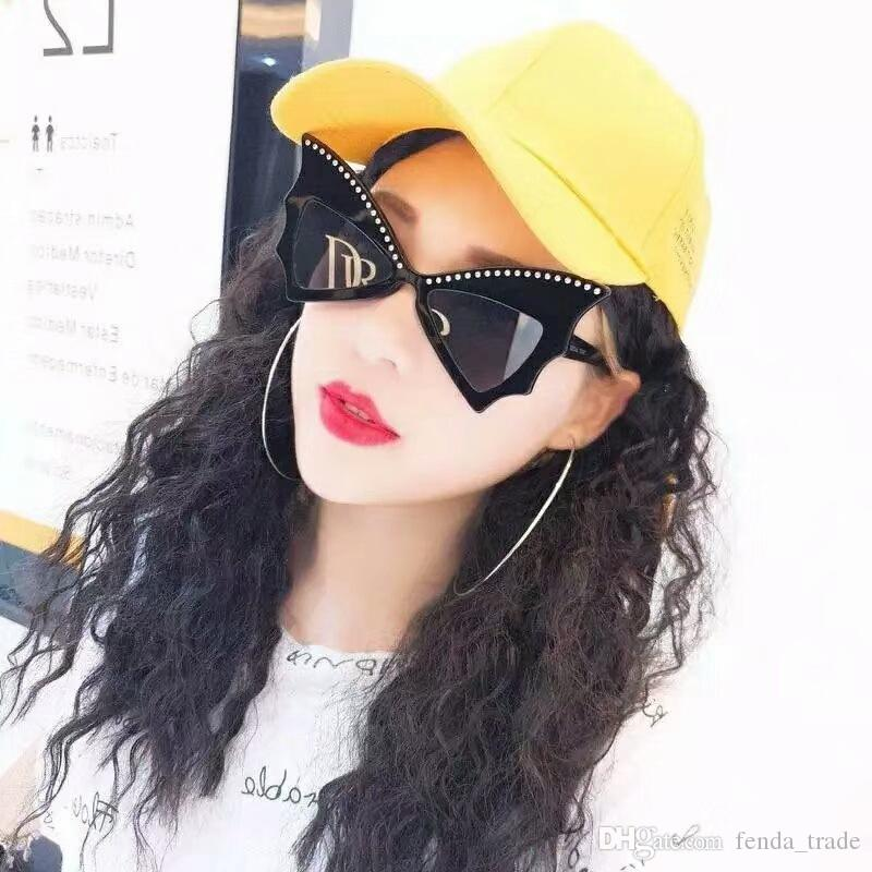 6 cores New Sexy Bonito Rebite Óculos de Sol Marca Bat Oversized Arco-nó Óculos De Sol Das Mulheres Cateye Dance Party Óculos Designer Borboleta óculos
