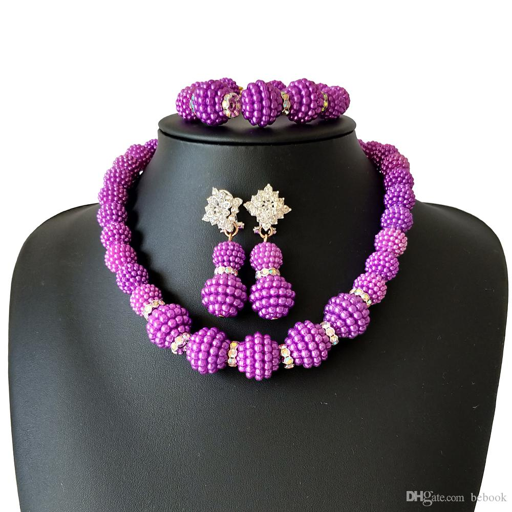 Purple African Beads Jewelry Set Nigerian Wedding African Beads Crystal Jewelry Sets Nigerian Beads Necklace Set