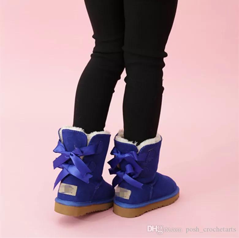 Stivali da neve per bambini scarpe invernali scarpe in vera pelle stivali per bambini Bambino calzature per bambini Scarpe da bambini Designer Brand Botas Chaussures versare enfants