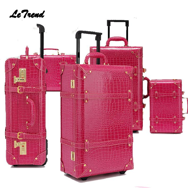 060ac317297f Letrend Vintage Suitcase Wheels Rolling Luggage Set Retro Leather Cabin  Trolley Spinner Carry On Travel Bag Women Password Trunk Dakine Suitcase ...