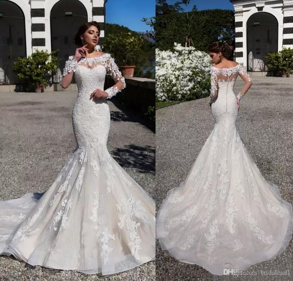 3D 꽃 아플리케 쉬어 긴 소매 인어 웨딩 드레스 국자 목 얇은 명주 그물 신부 드레스 버튼 위로 웨딩 드레스 Vestidos 드 노비