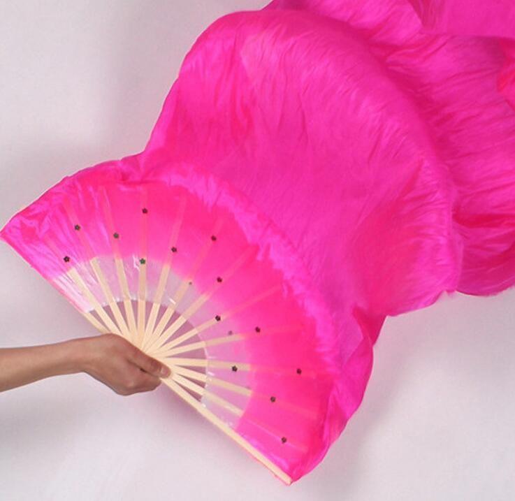 Newst Hand Made Colorfu Dance Fan Veils for Women long Silk Fan Bamboo Fans