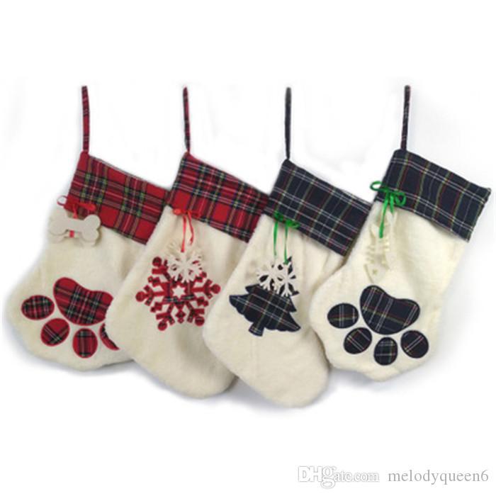 Haute Qualité Nouvelle Laine À Carreaux De Noël Cadeau Sacs Pet Chien Chat Patte De Noël Bas Chaussettes De Noël Arbre Ornements Pour Enfants Cadeau
