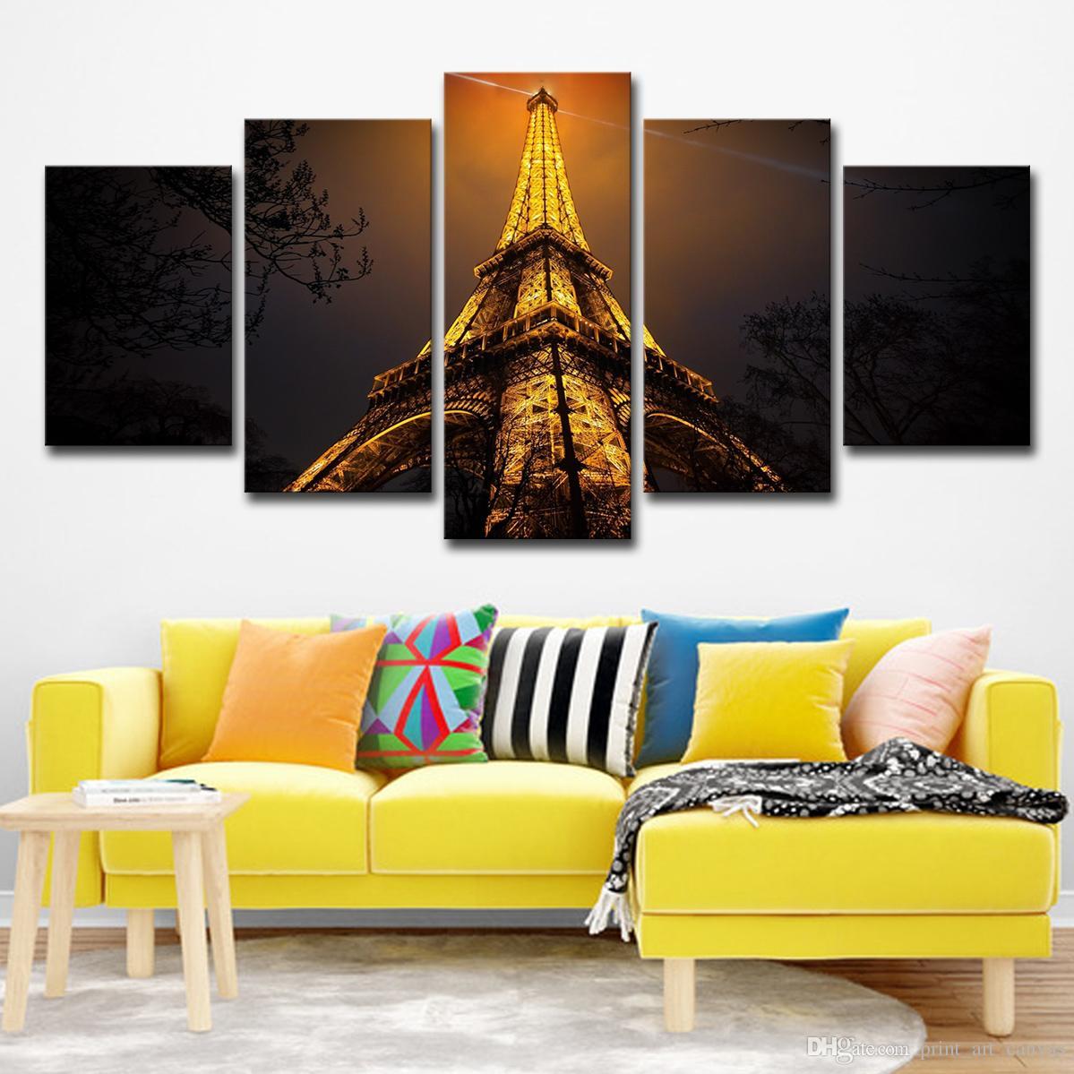 Duvar Sanat Tuval HD Baskılar Boyama Posteri 5 Parça Yukarı Bakıyor Eyfel Kulesi Gece Görünümü Resimleri Ev Dekor