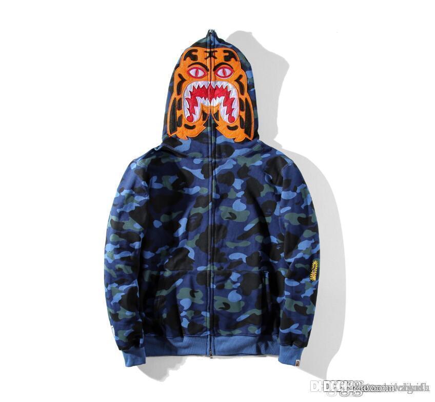 Sportwear Coat Jogger Tuta Pullover Fleece Felpa girocollo nero Hip Hop stusay con cappuccio Men Shark Bocca