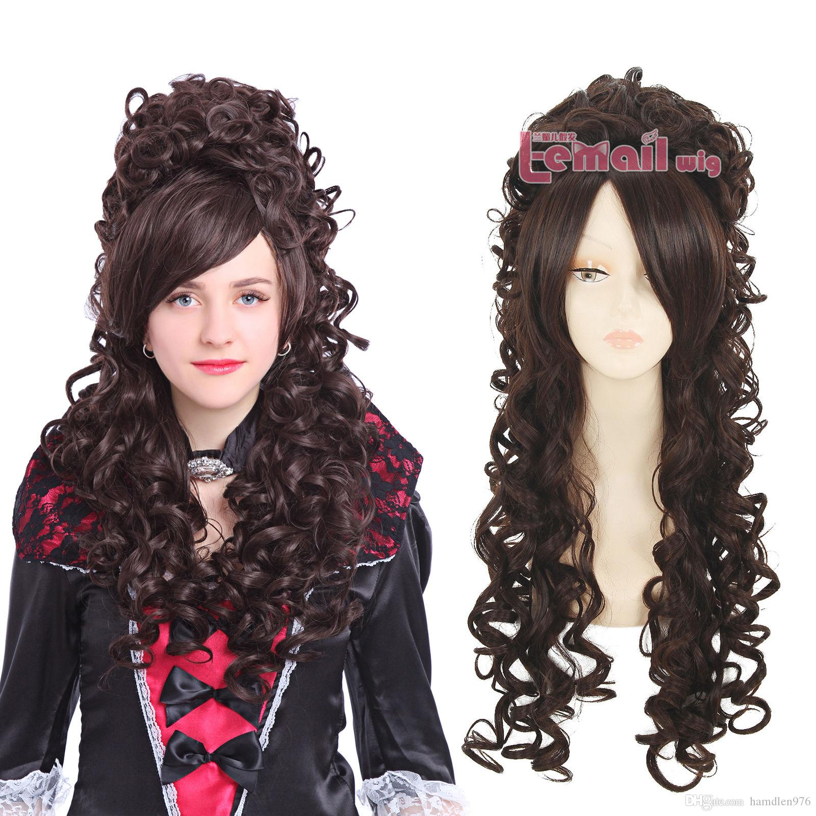 Free shipping>>> Baroque Brown Renaissance Long Wave Curly Cosplay Wig
