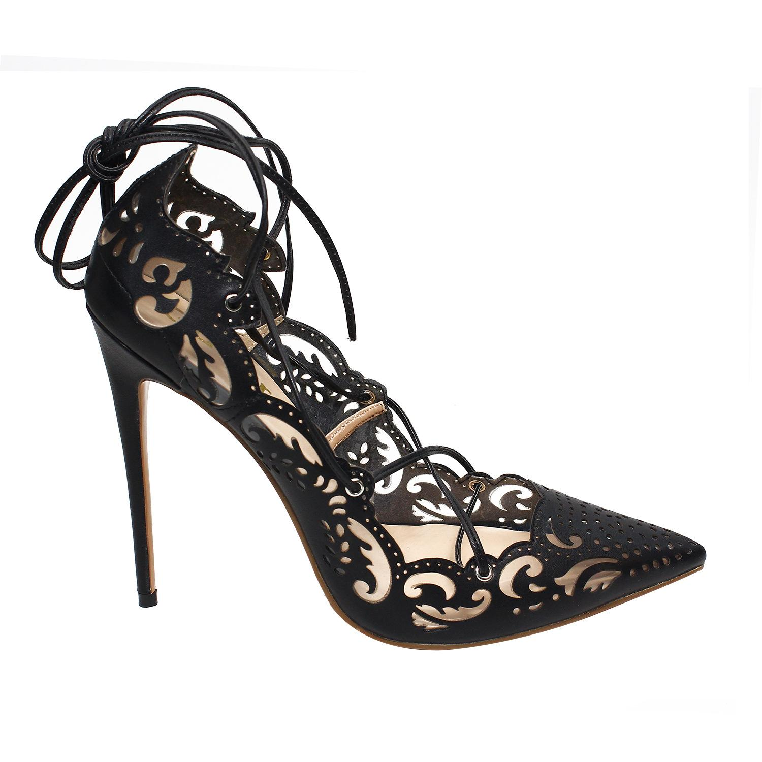 New sexy hollow pattern 12cm high-heeled pumps pointed toe lace-up red sole lady party single shoes size 35-46