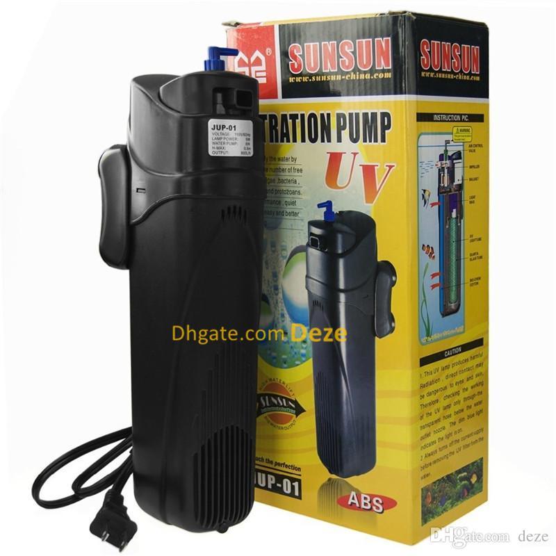 Sunsun 9W 800L / H Aquarium Fish Tank UV Dockersible Filter Filteration Pump med UV sterilisator lampa jup-01