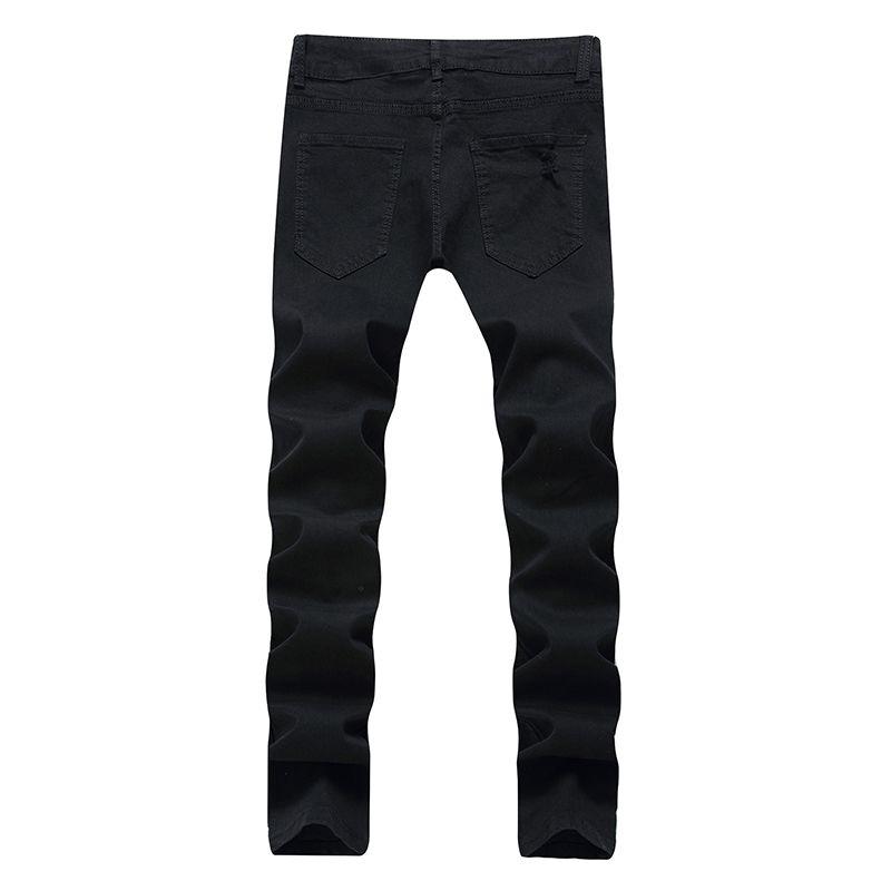 Сильсинские модные джинсы разорванные джинсы качественные джинсы качества колена брюки нового молодого человека хип-хоп мужские брюки мода высокий студент ковбоев XIQFM