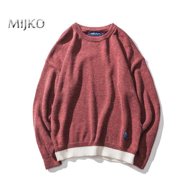 MIJKO 2018 Maglioni Uomo New Fashion Casual O-Collo Slim Cotton Knit Qualità Mens Pullover Uomo Abbigliamento di Marca Plus Size M-2XL