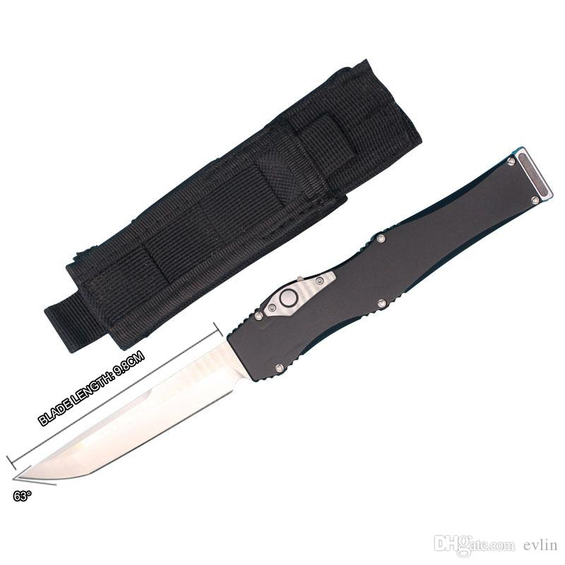 Hot Sale! Auto Tactical Knife D2 Satin Tanto Blade T6061 Aluminum Handle EDC Pocket Knife Gift Knives With Nylon Bag