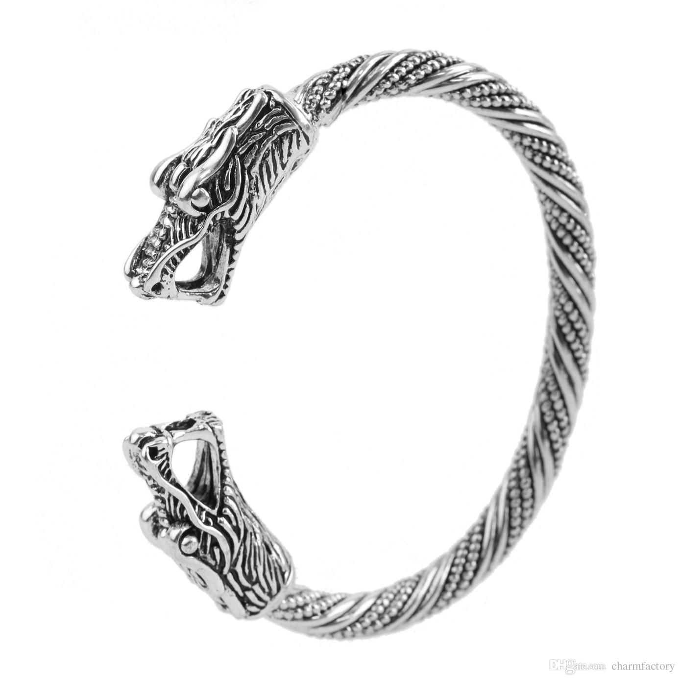 Fishhook Wholesale Dropshipping Rage Dragon Head Pure Color Alloy Jewelry Boho Animal Mens Bracelets Women Jewelry