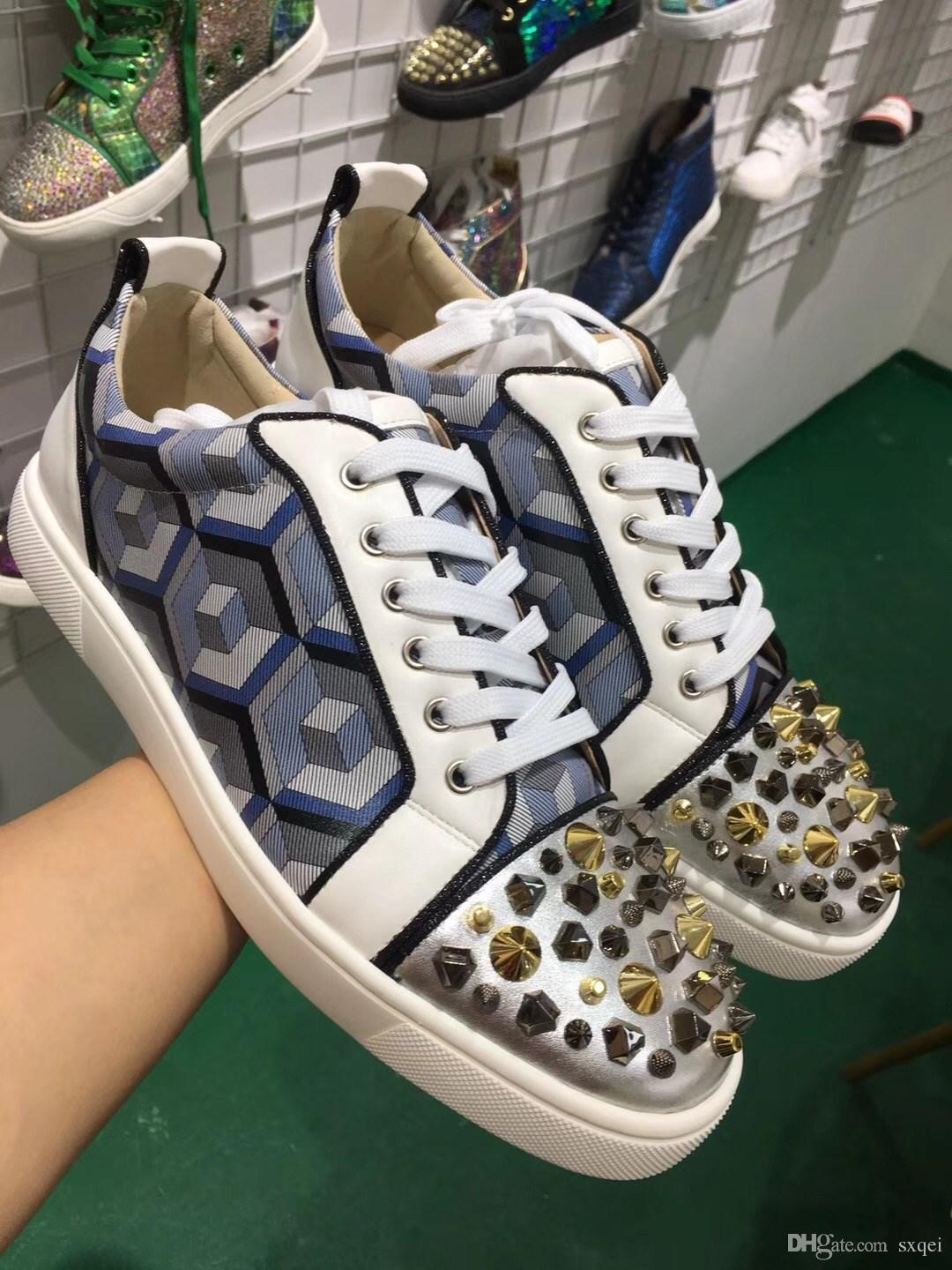 a2acc94640c6 New Leopard Print Glitter Men S Shoes Cow Leather Low Top Red Bottom  Sneakers Unisex Street Wear Brand Casual Flat Shoes Blue Shoes Clogs For Women  From ...