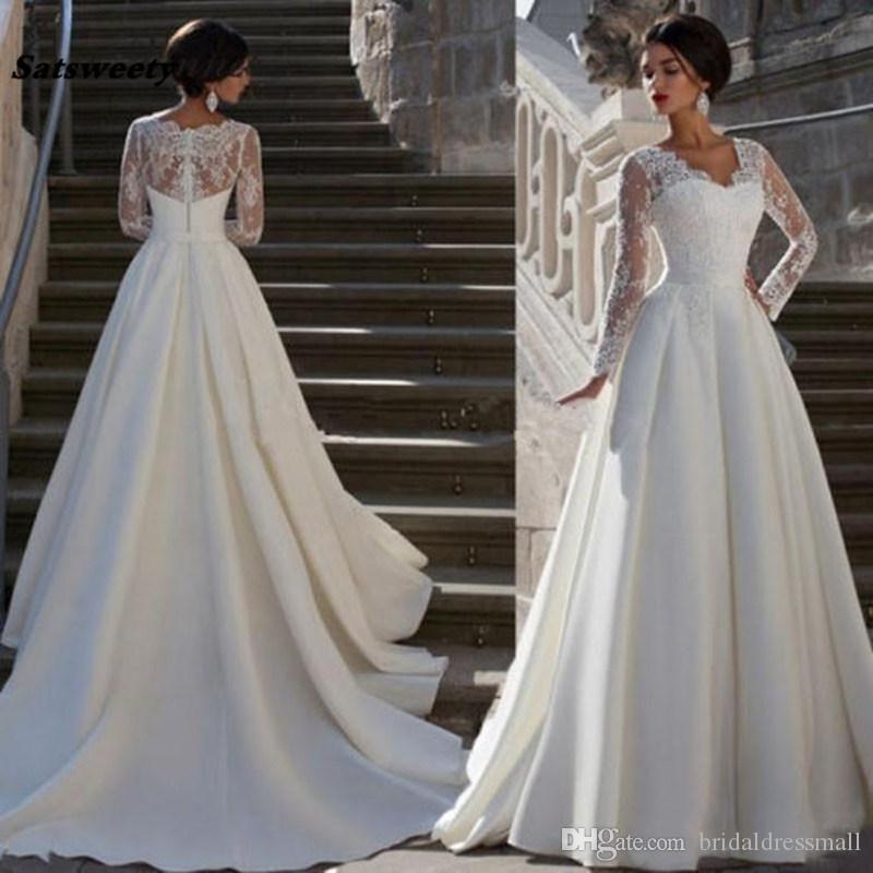 2021 Modest Long Sleeves Wedding Dresses Lace Applique V-Neck Plus Size Sash Satin Vintage Bridal Gowns With Buttons Back