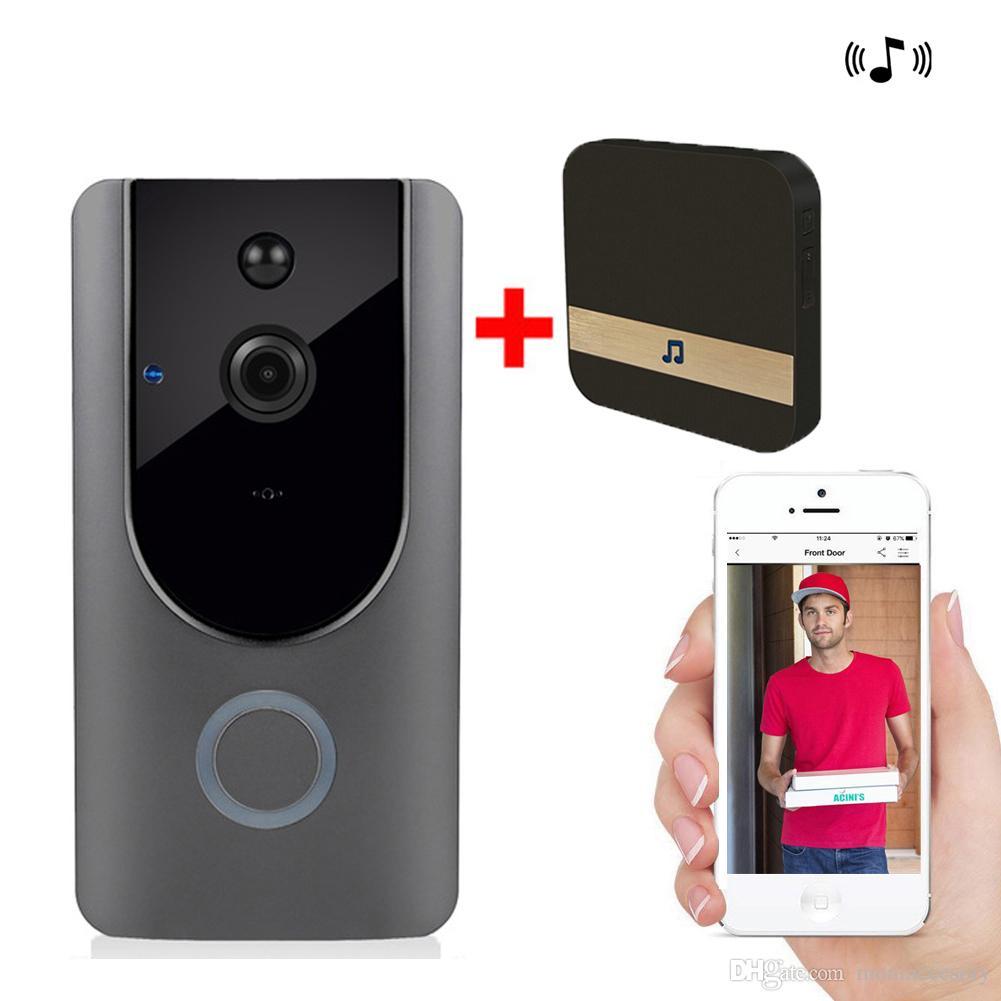 HD 720P WIFI Visuelle Türklingel Funksprechanlage Türklingel Kamera PIR Bewegungsmelder Nachtsicht Video Smart Türklingel Ring mit Innenklingel
