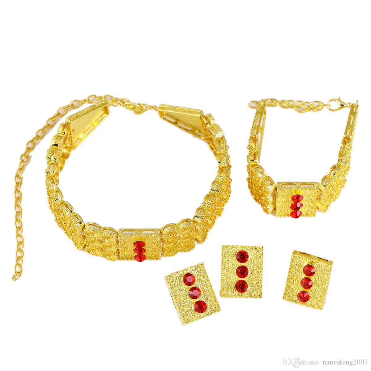 Estilo etíope Conjunto De Jóias Banhado A Ouro Gargantilhas Colar Pulseira Brinco Anel Set Eritreia Habesha África