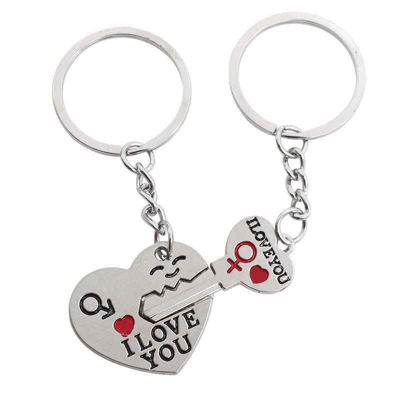 "Couple keychain Personalised Keyrings Arrow & ""I Love You"" Heart and Key Metal Lovers Mosaic Pendant Lovers Drop Oil Key Chain"