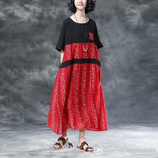 2018 Estate nuove donne arrivo floreale tasche casual girocollo manica corta vestito rosso sentirsi fresco in estate