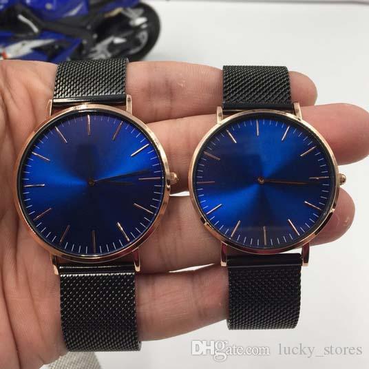 Amantes de moda relógios homens mulheres cinta de aço inoxidável quartzo relógios de relógios de relógio relógio relógios relógios relojes ouro preto prata
