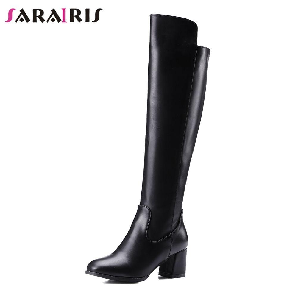 SARIRIS 2018 Kadınlar 5.5 Kare Yüksek Topuk Ayakkabı Kadın Sonbahar Kış Kürk Ayakkabı Kadın Diz Yüksek Sürme Kar Botları Büyük Boy 30-48