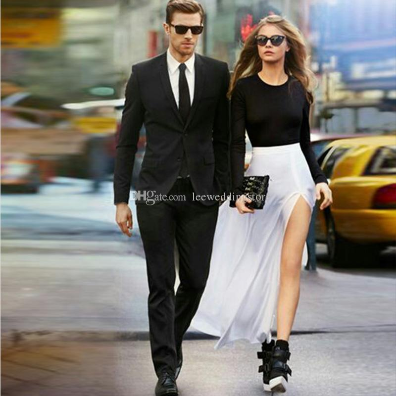 Black Peaked Lapel Men Suits Business Blazer Evening Dress Slim Fit Formal Wedding Suits Bridegroom Groom Prom Tuxedo Best Man Jacket+Pants