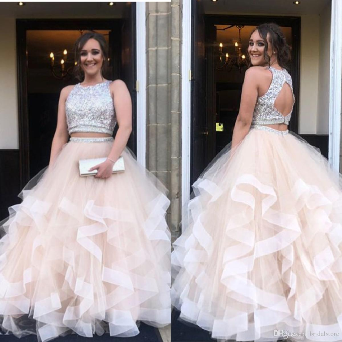 Elegant Champagne Two Piece Prom Dresses Sequins Top Hot Sale Tulle Tiered Formal Evening Open Back quinceanera dresses 2018 For Girls