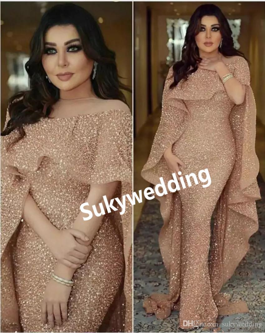 Zuhair Murad largas sirena Vestidos de noche con manga corta cuello de la joya de las lentejuelas vestido de fiesta Cuello de caja Prom Vestidos de tren de barrido