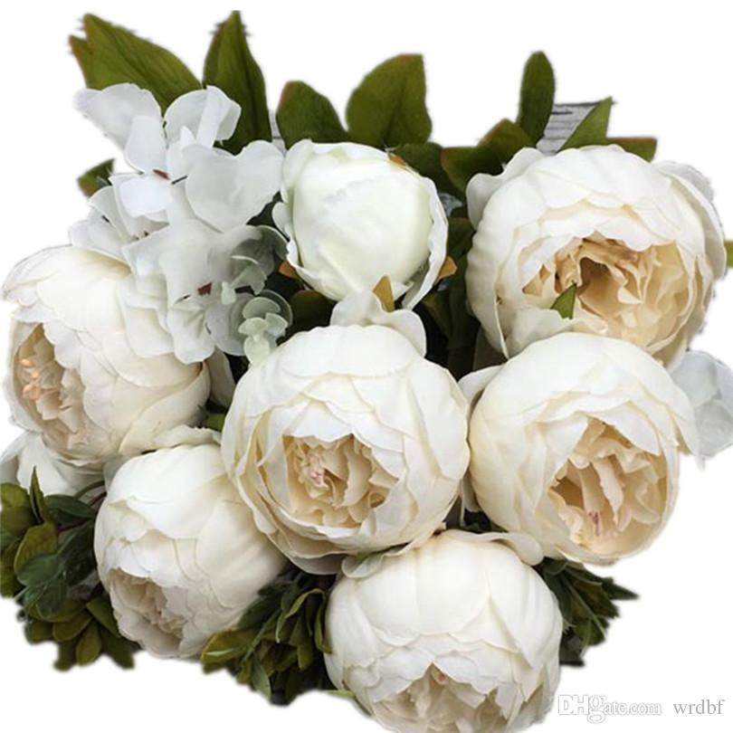 Künstliche Pfingstrosenblume 8 Köpfe Gefälschte Pfingstrosen mit Hortensienblüten 10 Farben für Hochzeits-Mittelstücke Bouquets-Tischdekoration