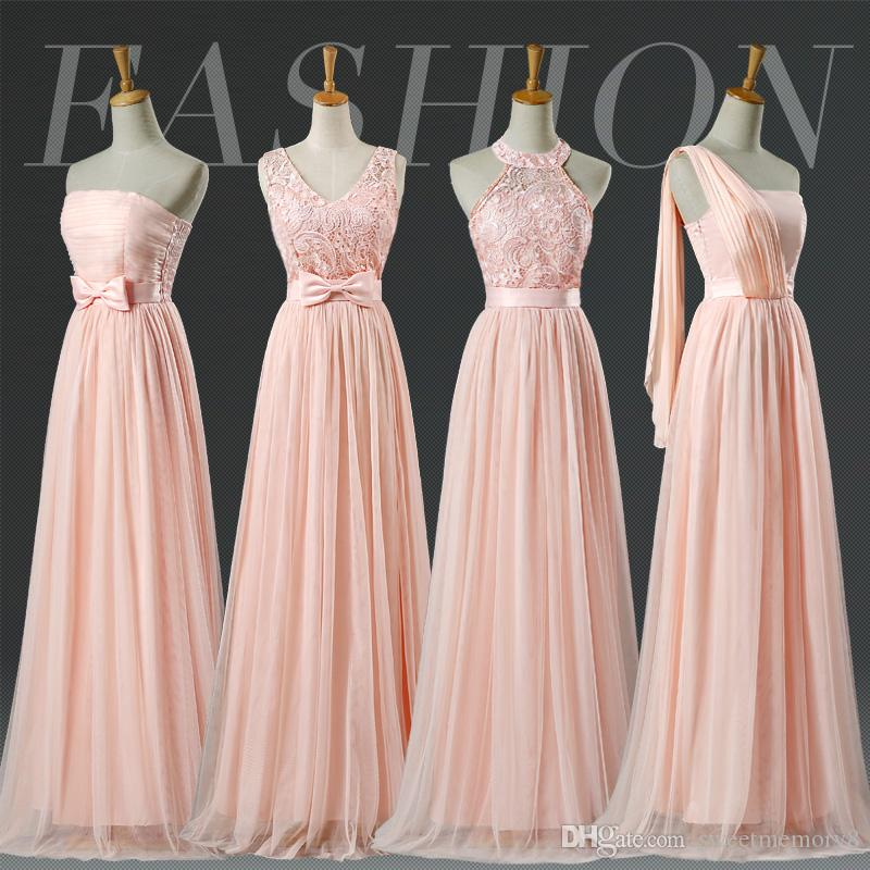 Promotion Blush Halter Bridesmaid Dress Lace Pale Pink Bridesmaid Dresses Prom party graduation formal dress SW001