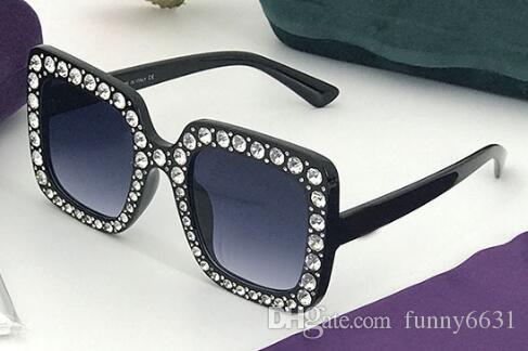 Kadınlar için yeni BÜYÜK ÇERÇEVE plaj gözlük elmas mens moda güneş gözlüğü Sürüş Gözlük rüzgar Serin güneş gözlükleri SIYAH güneş gözlüğü ücretsiz gemi
