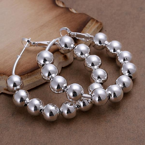 whole sale8MM Beads Creole Big Hoop Earrings for Women Silver Plated Round Earring Brincos Prata European Brand Fashion Jewelry Gifts 2017