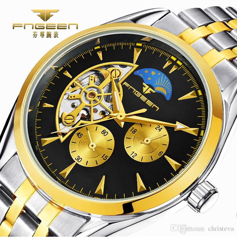 2018 Top Brand Luxury Business Men Watches Skeleton Mechanical Watch for Male Clock Moon Star Auto Saats Hodinky Horloges Mannen