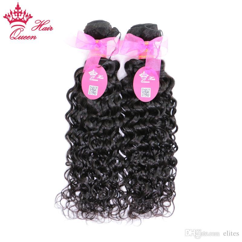 "Queen Hair Brazilian Virgin Natural Wave Hair Weft 10""-28'' Mix Length Nature Wave #1B 2pcs 100% Human Hair"