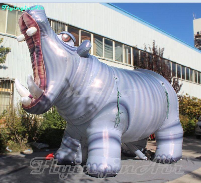 4.4m Bigmouthed Hippopotamus 인공 팽창 식 히포 귀여운 동물원 강 말과 입