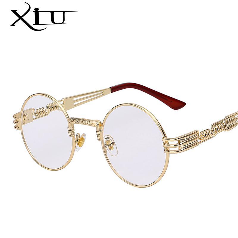 القوطية Steampunk نظارات شمس رجل إمرأة المعادن WrapEyeglasses جولة ظلال نظارات الشمس مرآة عالية الجودة UV400