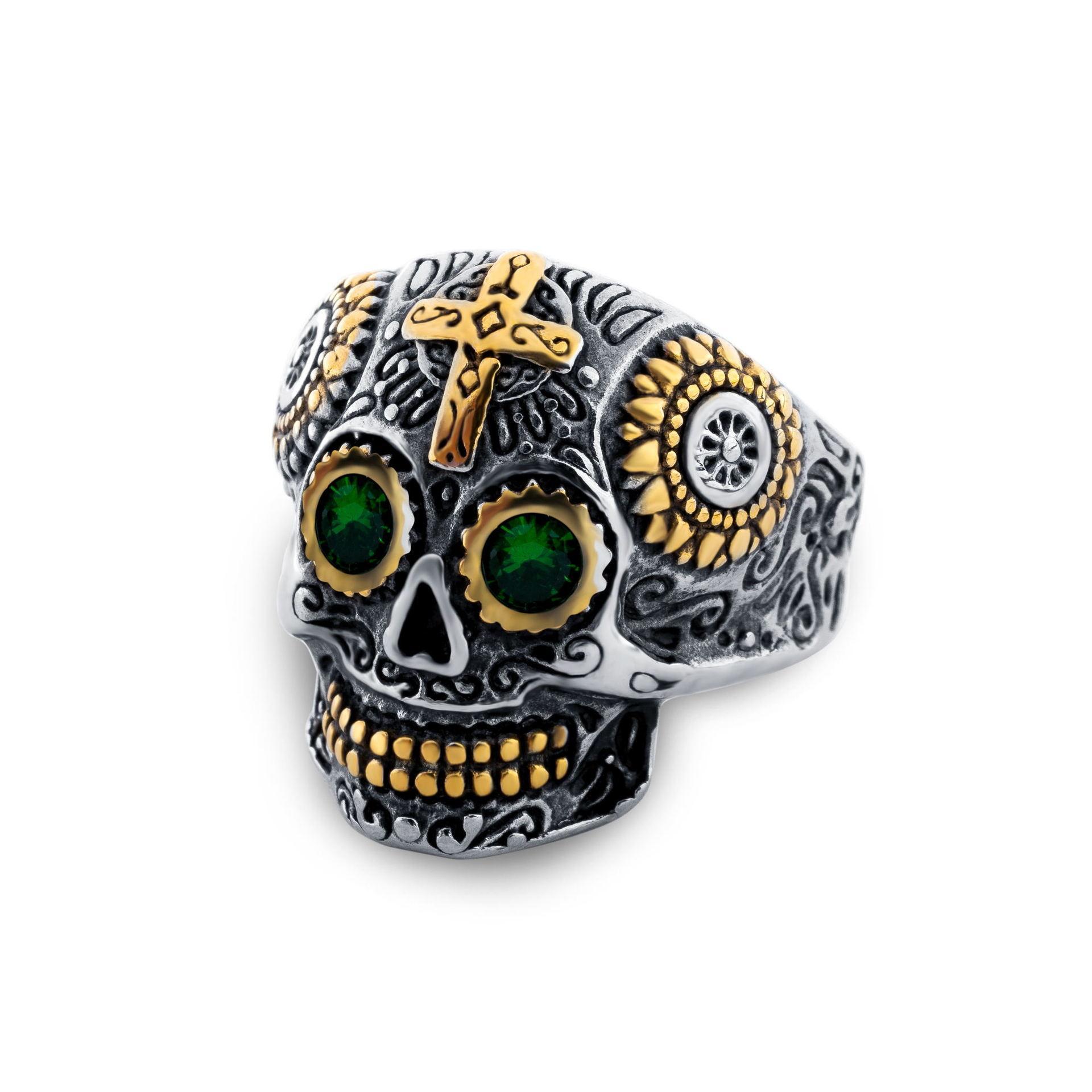 Europa e América, velho atravessar anel esqueleto crânio, anel esculpido, explosão negócios eletrônicos, fantasma imitação mão Tita aço inoxidável