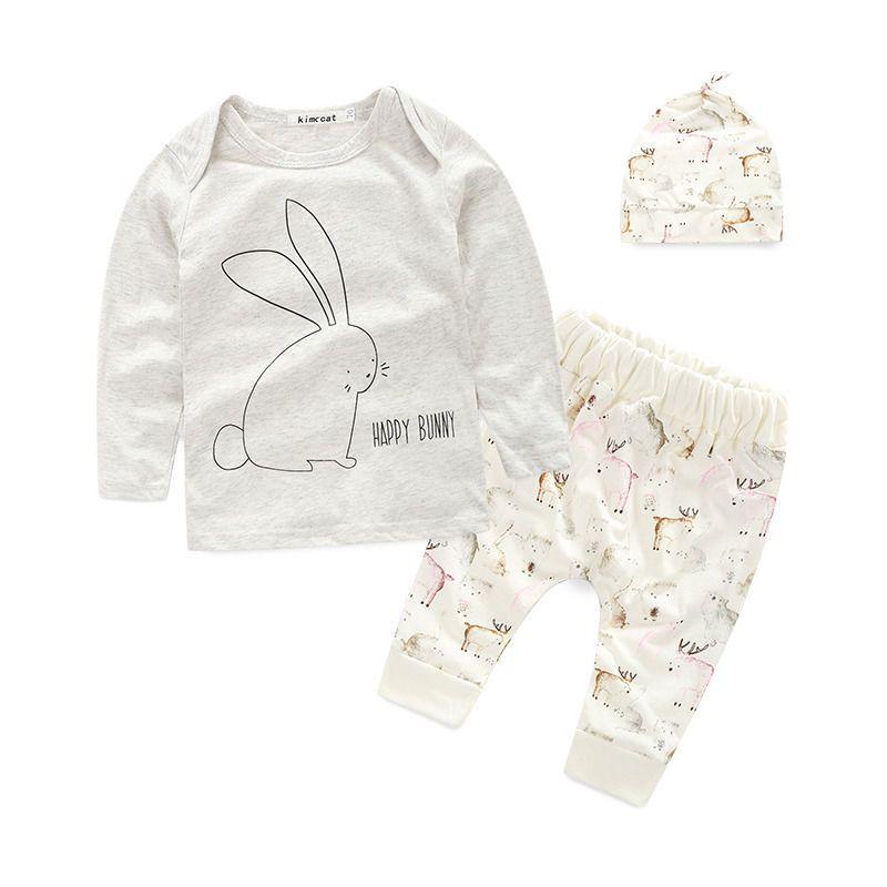 3PCS Newborn Baby Kid Boy Stripe T-shirt Top Pants Overall Hat Brace Outfits Set