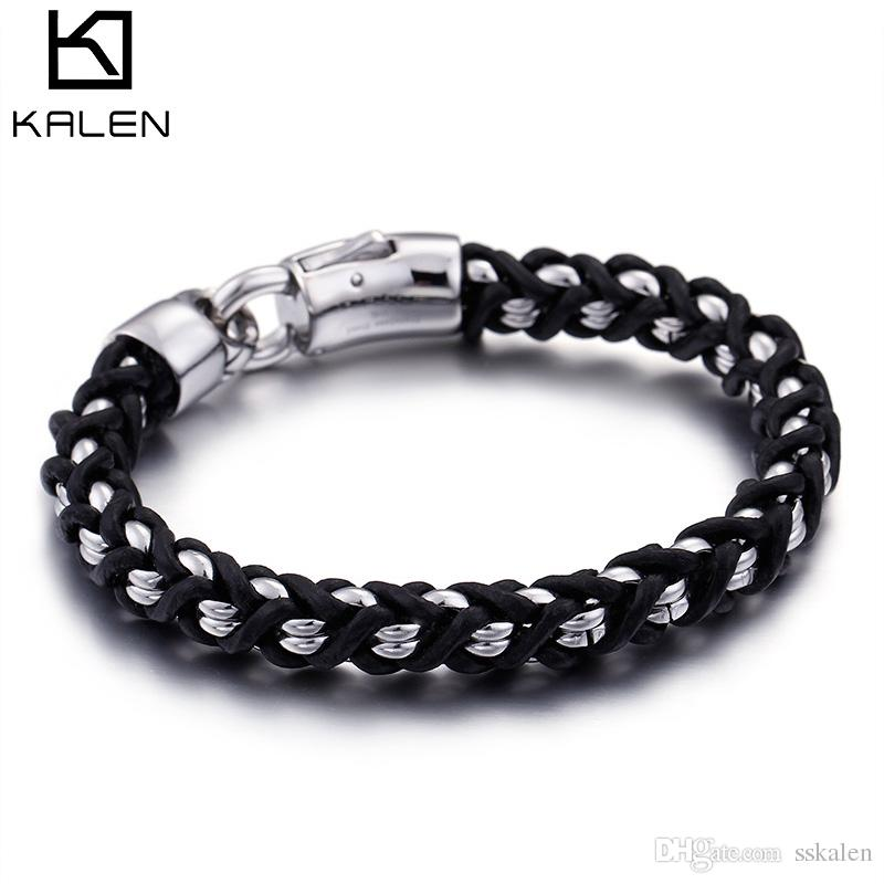 2018 220MM SS 304 Lobster Stainless Steel + Leather Rope Running Bracelet For Men Sports Top Jewelry KALEN