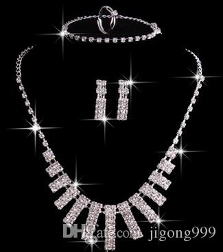 chaming crystal diamond wddding birde set lady's necklace earings (5.5)ytyr