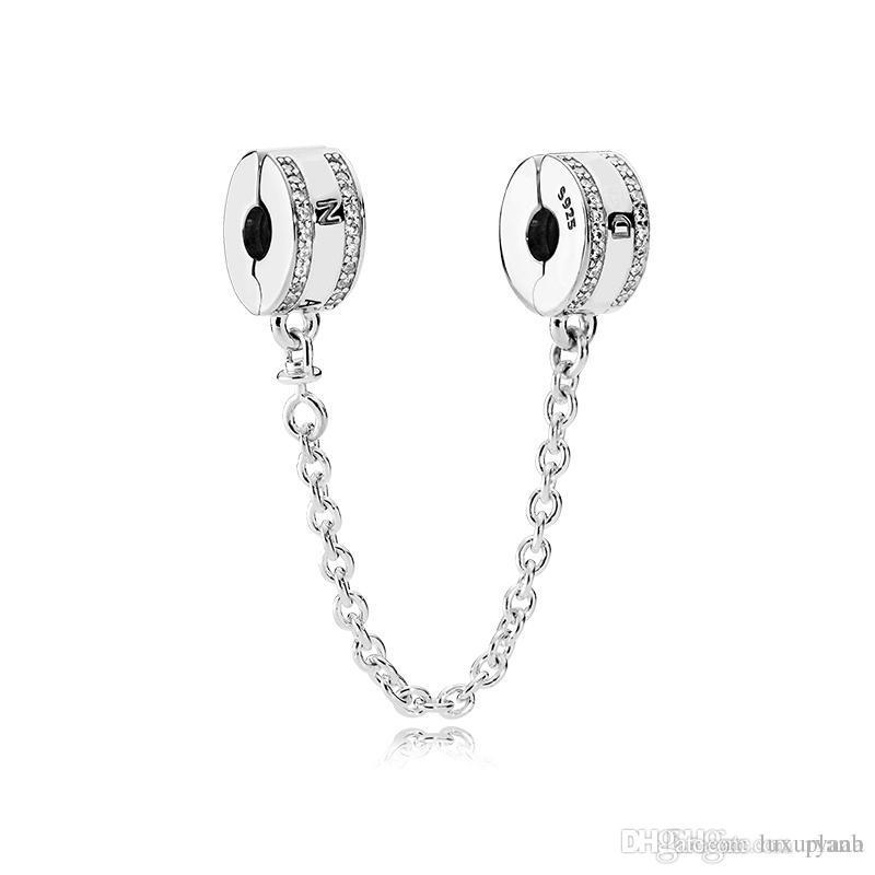 Mode Frauen 925 Sterling Silber Klar CZ Sicherheitskette Clip fit Pandora Charms Armband DIY Schmuck machen